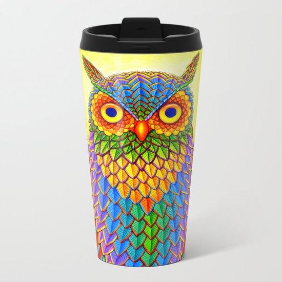 Psychedelic Rainbow Owl Metal Travel Mug