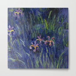 Irises No. 2 still life painting by Claude Monet Metal Print