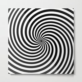 Black And White Op Art Spiral Metal Print