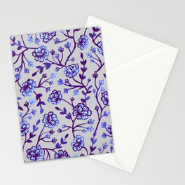 Watercolor Peonies - Periwinkle Stationery Cards