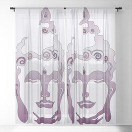Buddha Head violet - grey Sheer Curtain