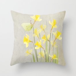 Daffodils and brimstone Throw Pillow