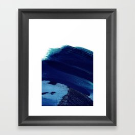 Indigo wave abstract Framed Art Print