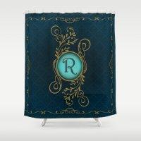 monogram Shower Curtains featuring Monogram R by Britta Glodde