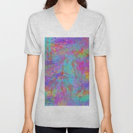 Whimsical pink teal neon green yellow abstract watercolor Unisex V-Neck