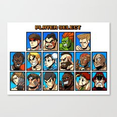 Street Fighter Player Select Canvas Print