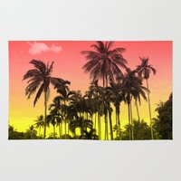 tropical Area & Throw Rugs featuring palm tree  by mark ashkenazi