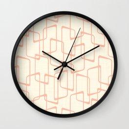 Mid Century Reverse Blush Geometric Pattern Wall Clock