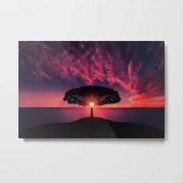 Gorgeous Coastal One Tree Hill Purple Sunset Metal Print