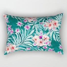 FRONDS ON FLEEK Tropical Palm Floral Rectangular Pillow