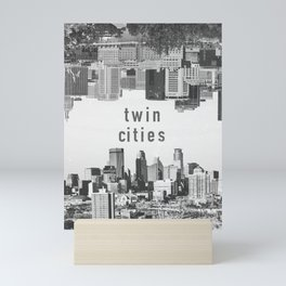 Twin Cities Minneapolis and Saint Paul Minnesota Skylines Mini Art Print