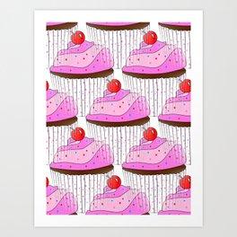 Sprinkle Cupcake Pattern Art Print