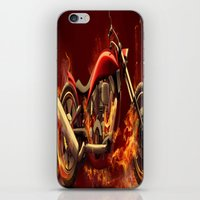 motorbike iPhone & iPod Skins featuring FIRE MOTORBIKE by Acus