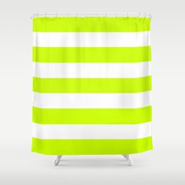 Electric lime - solid color - white stripes pattern Shower Curtain