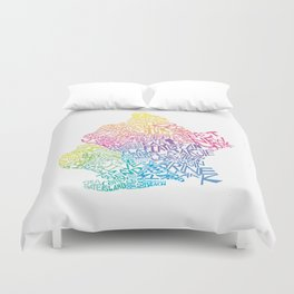 Typographic Brooklyn in Springtime Duvet Cover