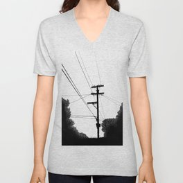 Power Lines at the bluff Unisex V-Neck
