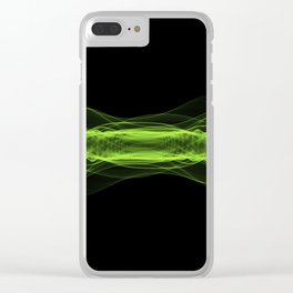 Plasma or high energy force concept. Green glowing energy waves on black Clear iPhone Case
