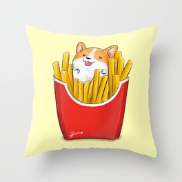 French Corgi Fries Throw Pillow