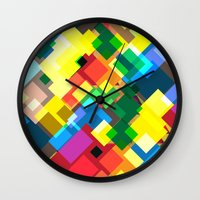 world maps Wall Clocks featuring Maps by Tony Vazquez