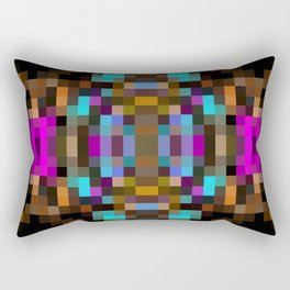 geometric square pixel abstract in blue orange pink with black background Rectangular Pillow