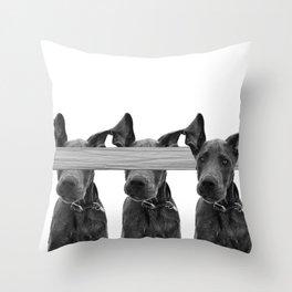 Dog Crosses Line Throw Pillow