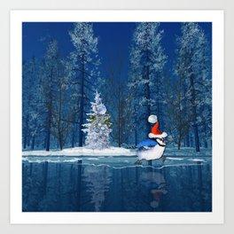 Christmas Blue Bird On Ice Art Print