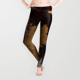 Abstract Pour Painting Liquid Marble Black Pastel Blue Painting Gold Accent Leggings