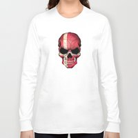 denmark Long Sleeve T-shirts featuring Dark Skull with Flag of Denmark by Jeff Bartels