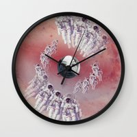 suits Wall Clocks featuring America Space Suits You by Future Illustrations- Artwork by Julie C
