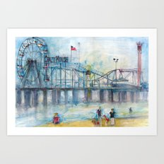 Altantic City, New Jersey - Roller Coaster - Ferris Wheel - Watercolor Painting Art Print
