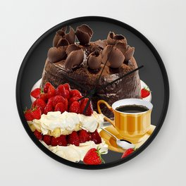 STRAWBERRY & CHOCOLATE CAKE BREAKFAST Wall Clock