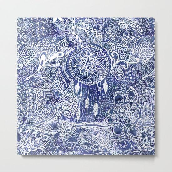 Boho blue dreamcatcher feathers floral illustration Metal Print