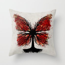 Butterfly Tree - Ink and Red Throw Pillow