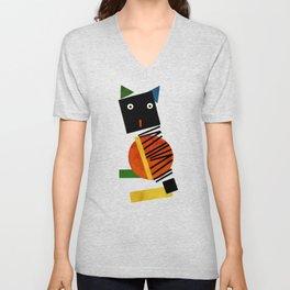 Black Square Cat - Suprematism Unisex V-Neck