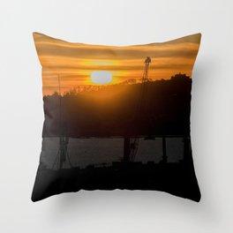 Aerial View Sunset Scene of Montevideo Uruguay Throw Pillow