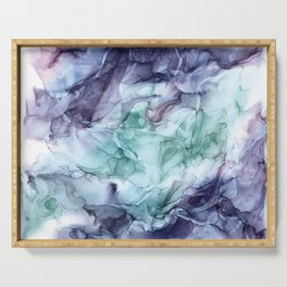 Growth- Abstract Botanical Fluid Art Painting Serving Tray
