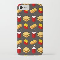 junk food iPhone & iPod Cases featuring Isometric junk food pattern by Irmirx