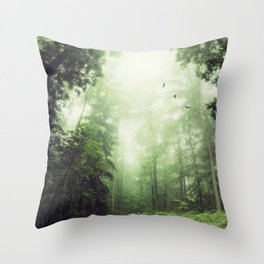 German Jungle - Forest in Morning Mist Throw Pillow