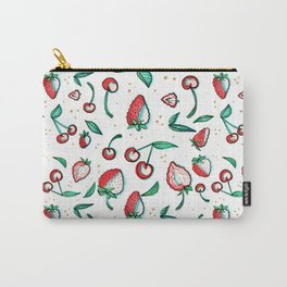 Strawberry cherry illustration pattern  Carry-All Pouch