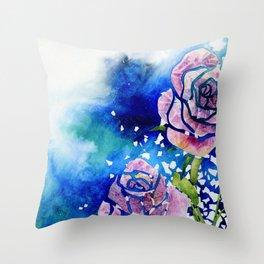 Fragmental Roses Throw Pillow