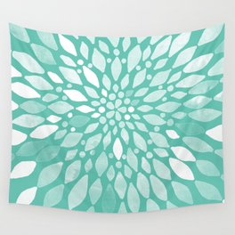 Radiant Dahlia in Teal and White Wall Tapestry