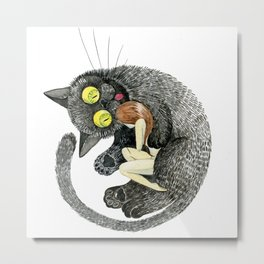 My blak cat! Metal Print