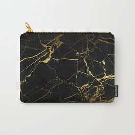 Black-Gold Marble Impress Carry-All Pouch