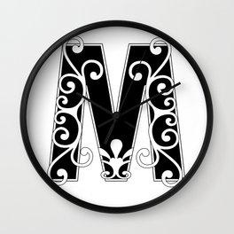 M Black & White Scroll Design Wall Clock
