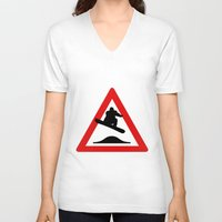 snowboard V-neck T-shirts featuring Snowboard road sign by Komrod