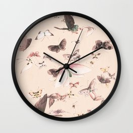 Vintage blush pink black watercolor cute butterfly Wall Clock