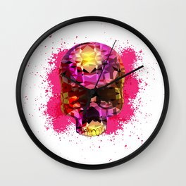 Skull with Crystal Polygon Wall Clock