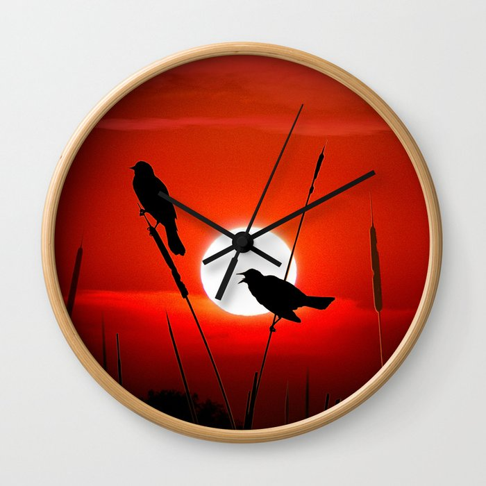 Blackbirds On Red Sunset. Wall Clock