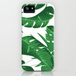 DOT. Tropical Leaves, Jungle, Banana, Monstera, Green and White iPhone Case
