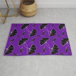 Black Leaves on purple Rug